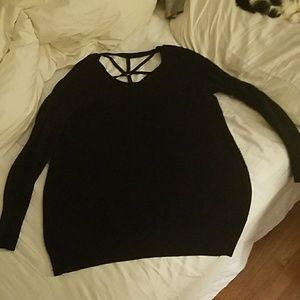 Black sweater with braided back
